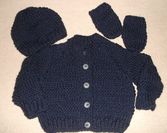 chunky navy blue cardigan with hat and mittens