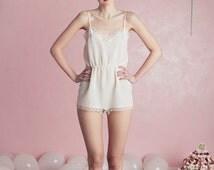 LAST PIECES-white silk Teddy-Bodysuit Viviana Mori Lingerie