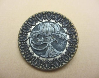 Antique Vintage Large Two Piece Brass Picture Buttons with Flower Embellishment Thistle