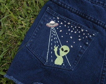 Hand Embroidered Alien Shorts