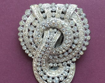 older vintage white rhinestone fur clip