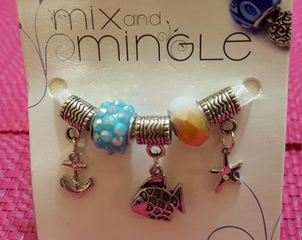 Mix and Mingle Large Hole Beads, Sea Life, 5 Pieces AJM65026085
