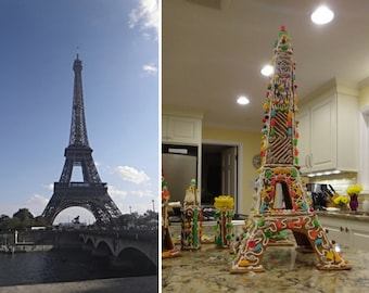 Eiffel Tower Gingerbread House Pattern Instant Download