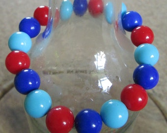 Dark Blue, Light Blue & Red Chunky Beaded Bangle
