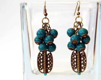Polymer clay earrings Women's jewelry Long Cluster Dangle earrings Blue beaded jewelry Blue Polymer clay Fimo clay beads Gift for Her