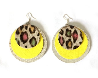 Large Leather Disco Earrings