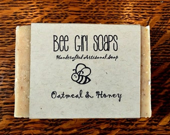 Oatmeal Honey Artisanal Soap Handmade Olive Oil Soap Made With Beeswax