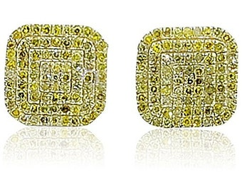 Yellow Canary Diamond Earrings Cushion Shaped 8.5mm Wide 0.49cttw 10K Yellow Gold