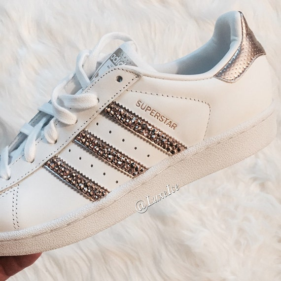 adidas originals superstar white rose gold with by shopluxeice. Black Bedroom Furniture Sets. Home Design Ideas
