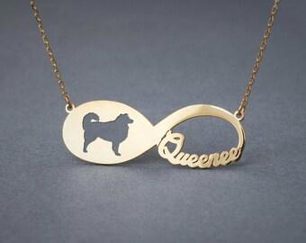 14k Solid Gold INFINITY AUSTRALIAN SHEPHERD Necklace • Australian Shepherd • Name Necklace • Custom Necklace  • Dog Necklace • Collie Gift