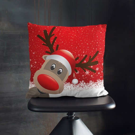 Cute Christmas Pillows Reindeer Pillow by wfrancisdesign on Etsy