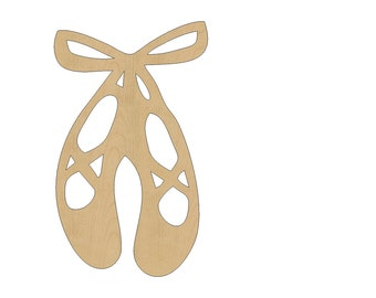 Ballet Shoes Cutout Shape Laser Cut Unfinished Wood Shapes, Craft Shapes, Gift Tags, Ornaments #490 All Sizes