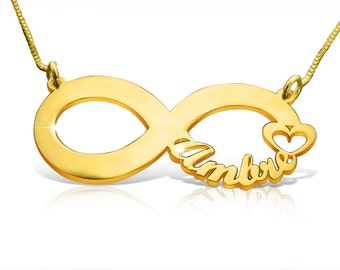Infinity Necklace Statement Necklace Infinity Pendant Baby Name Necklace For Mom Initial Necklace Best Friend Necklace Baby Naming Gift