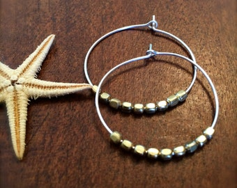 Two Tone Gold Silver Hoop Earring Gold Nugget Beaded Silver Pierced Thin Hoop Earrings Gift for Her Beach Wedding Bridal Bridesmaid Modern