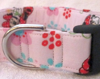 1in Large Minnie Mouse Themed Dog Collar