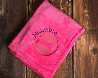 Personalized Pet Blanket with Embroidered Embossed Dog Name
