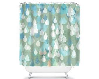 raindrop shower curtain bathroom decor blue shower curtain home living spots shower curtain, abstract shower curtain, unique shower,