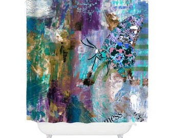 Butterfly Shower Curtain Art Shower Curtain Butterfly Bathroom Decor  Graffiti Shower Curtain Modern Shower Purple Shower