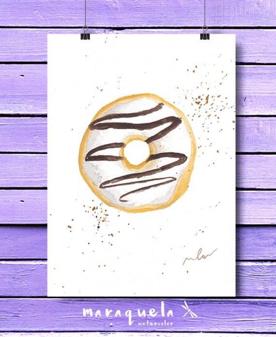 DONUT in watercolor. Original illustration, WHITE doughnut and CHOCOLATE Bright, vibrant colors. Modern Fashion Room Decor, cake, food print