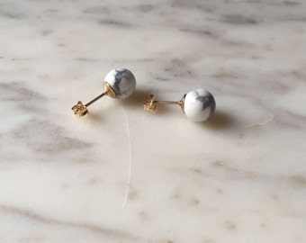 Marble bead and gold fill earrings