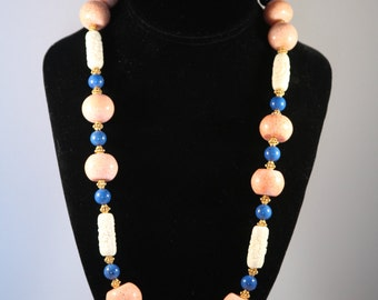 Natural sponge coral, lapis, carved bone and vermeil Necklace