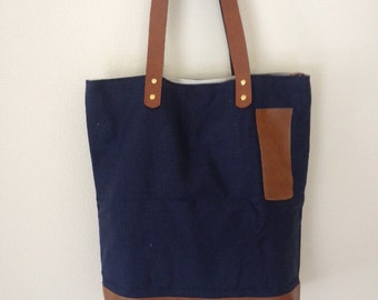 Navy Canvas Fabric Tote Bag Handmade with Magnet Closure New