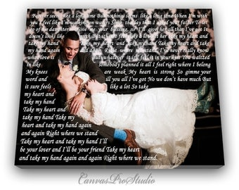 1st Anniversary gift First Dance Lyrics, Picture with Wedding Vows, Gift,  Wedding Vows Canvas, Wedding Registry,Anniversary,Engagement Gift