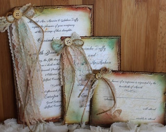"""Shabby Chic, Country Wedding Invitation """"Adabelle"""""""
