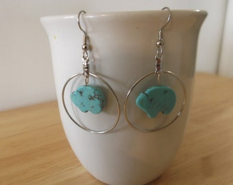 Silver Hoops With Turquoise Bear Earrings