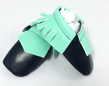 Leather Moccs; Baby Shoes; Mint; Leather Baby Moccasins;
