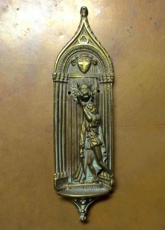 Antique vintage door knocker cast brass bronze sanctuary home - Vintage brass door knocker ...