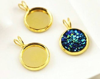8pcs 12mm Bezel Gold Plated Cabochon Tray Cabochons Pendant Cameo Settings Glass Cabochon Resin Cabochons Pendant Necklace Findings