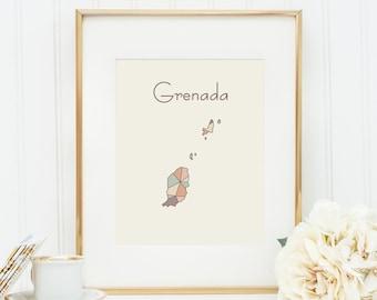 Grenada map, Grenada art, Grenada print, Grenada wall art, geometric art, nursery decor, nursery art, baby art, pastel art, Grenada poster