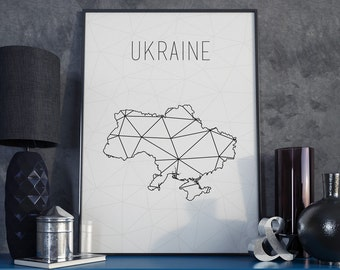 Ukraine map Ukraine art Ukraine print Ukraine wall art Geometric art Scandinavian style  Minimalist art Ukraine poster gift for christmas