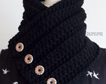 Chunky Neck Warmer - Chunky Crochet Cowl - Black Cowl - Crochet Cowl - Buttoned Cowl - Crochet Neck Warmer - Fall/Winter Fashion