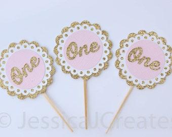 Cupcake Toppers - Gold Cupcake Toppers - Gold Glitter - Gold Glitter One Cupcake Topper - Pink Cupcake Topper