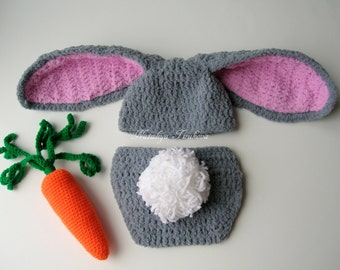 Crochet Soft Fuzzy Bunny hat, Diaper Cover and Carrot prop - photography prop