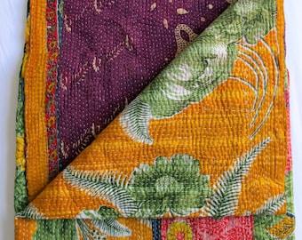 Vintage Indian Kantha quilt throw, blanket, Orange, purple and pink