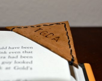 Custom leather corner bookmark