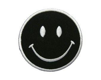Black Smiley Happy Smile Face Embroidered Applique Iron on Patch