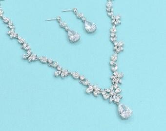 Cubic Zirconia Jewelry Set Wedding Necklace Set Bridal Jewelry Wedding CZ Set
