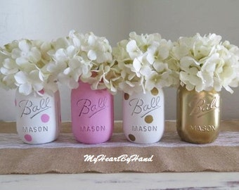 Pink and Gold Centerpieces, Pink Mason Jar Decor, Pink and Gold Baby Shower, Bridal Shower Decor, Rustic Home Decor, Nursery, Shower Decor