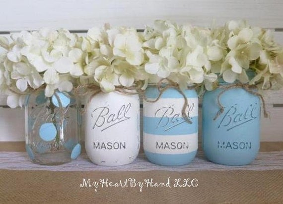 Baby blue shower decorations mason jars