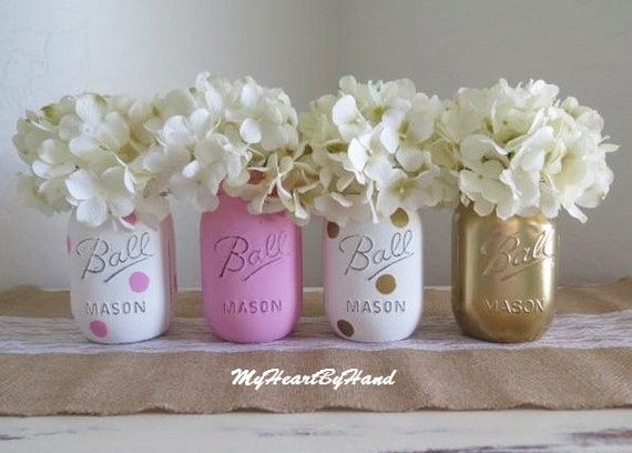 gold mason jar centerpieces baby shower mason jars painted ball jars