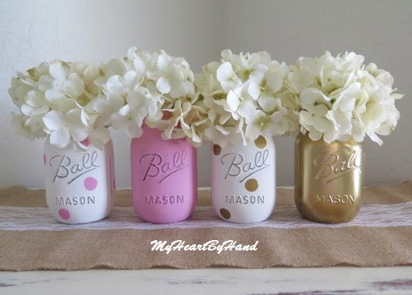 Pink and gold mason jar centerpieces baby shower jars