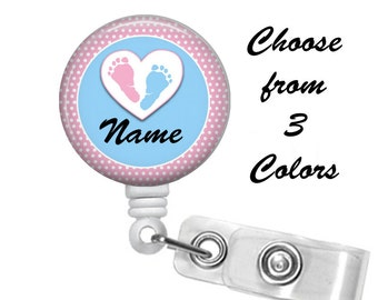 Maternity Badge Reel Personalized Name (3 Choices), Medical Badge Reel, ID Badge Holder clip, Chevron, mother, baby, obstetrics, gynocology
