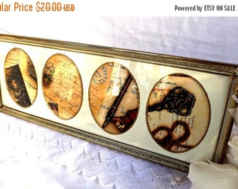 ON SALE Collage Frame, Vintage Metal Collage Frame, Home Decor, Retro Decor, Collage Picture Frame, Vintage Photo Frame, Vintage Decor,Pictu