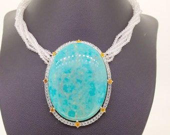 Turquoise citrine and CZirconia sterling silver with 5 strands of crystals pendant necklace women positive energy impressive big
