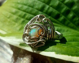 Ethiopian Welo Opal Wire Wrap Wrapped Ring- Size 9.5- Sterling Silver Wire