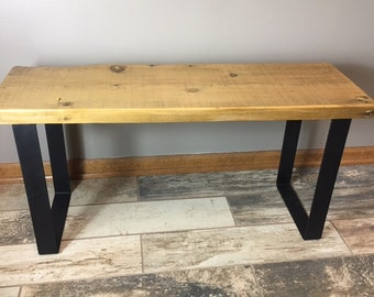 Reclaimed Urban Wood Bench Made From Salvaged Barn Wood - Flat Steel Legs - Endurovar Finish - Fast Shippi
